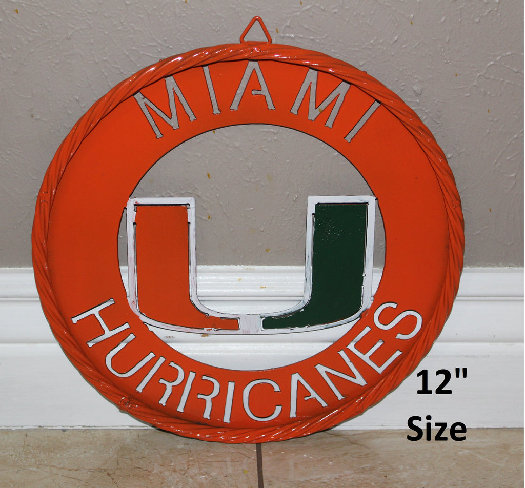 "12"" MIAMI HURRICANES METAL SIGN TEAM WESTERN HOME DECOR VINTAGE CUSTOM ART"