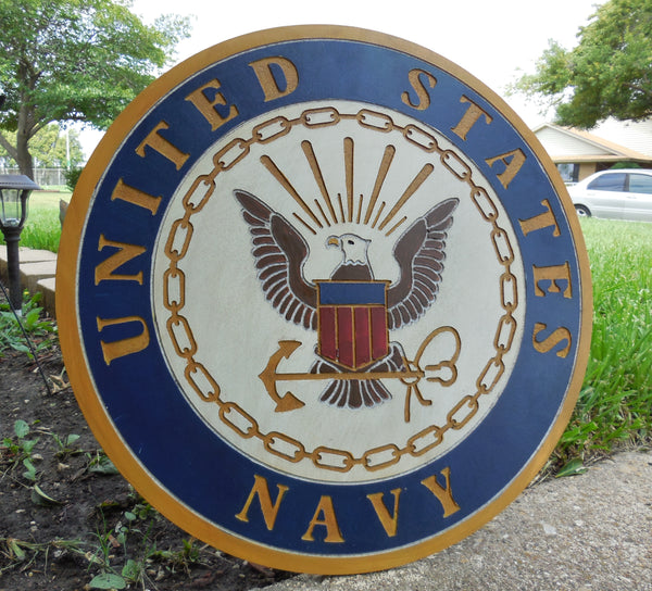 "21"" UNITED STATES NAVY MILITARY HAND CARVED WOOD PLAQUE ART CRAFT WESTERN HOME DECOR RUSTIC HANDMADE ART NEW"