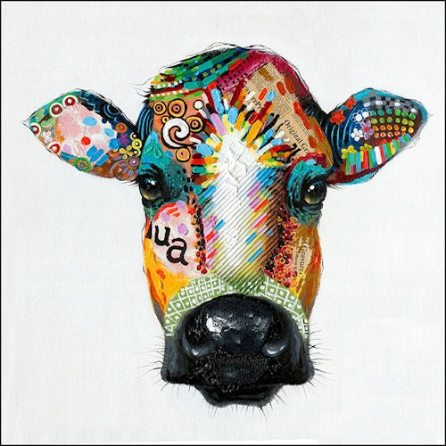 "COLORFUL COW PORTRAIT CANVAS PAINTING PICTURE WESTERN COUNTRY HOME DECOR HANDMADE WALL ART NEW SIZE: 28"" x 28"", Item#RA0051"