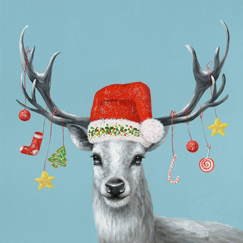 "X-MAS DEER PORTRAIT CANVAS PICTURE HOME DECOR HANDMADE WALL ART SIZE: 32"" x 32"", Item#RA0080"