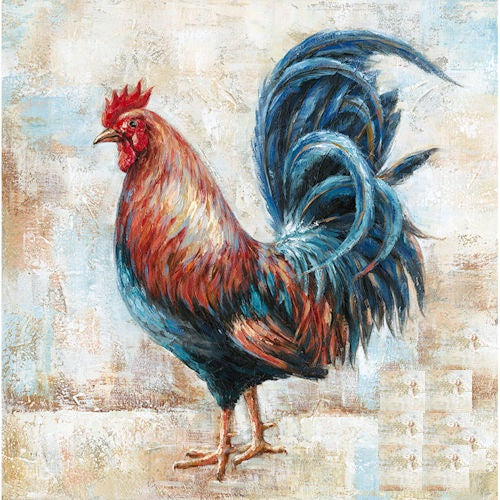 "ROOSTER CANVAS PAINTING PICTURE WESTERN COUNTRY HOME DECOR HANDMADE CRAFT WALL ART NEW 32"" x 32"", Item#RA0118"