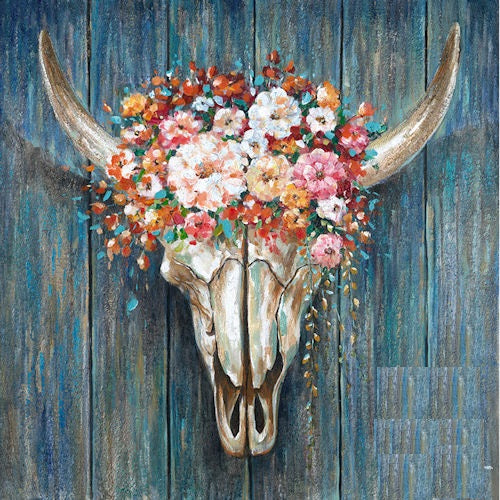 "COWSKULL WITH FLOWER CANVAS PAINTING PICTURE WESTERN COUNTRY HOME DECOR HANDMADE WALL ART NEW SIZE: 40"" x 40"", Item#RA0129"