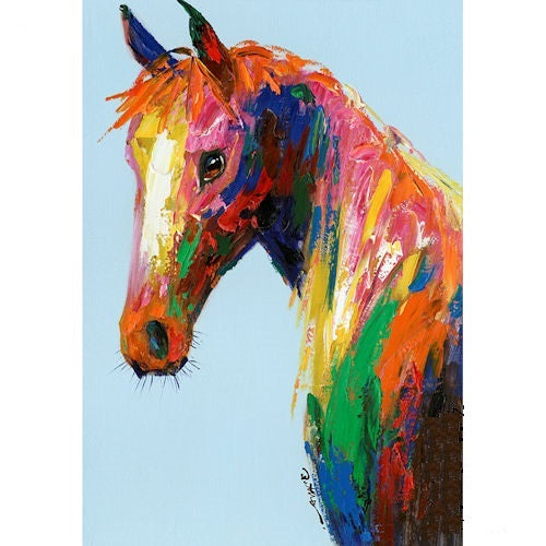 "COLORFUL HORSE CANVAS PAINTING PICTURE WESTERN COUNTRY HOME DECOR HANDMADE WALL ART NEW 28"" x 40"", Item#RA0155"