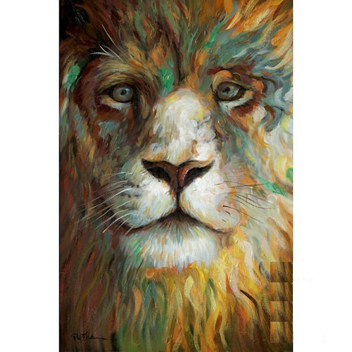 "LION PORTRAIT CANVAS PAINTING PICTURE HOME DECOR HANDMADE WALL ART NEW SIZE: 24""x36"", Item#RA0157"