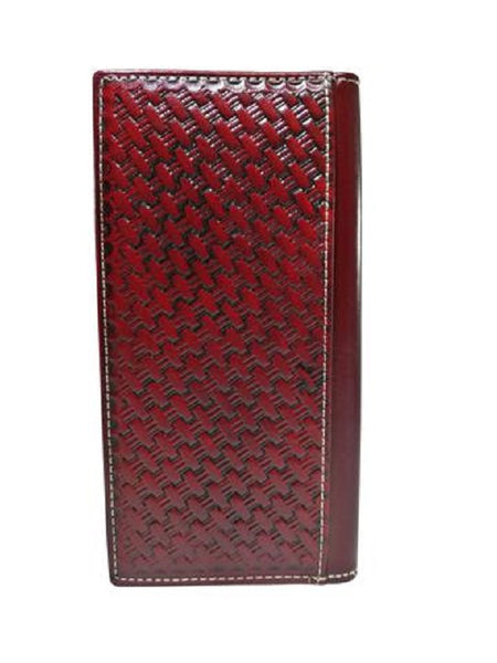 WESTERN CHECKBOOK BI FOLD WOMEN'S WALLET & MEN'S WALLET GENUINE LEATHER BURGUNDY FRONT FLORAL EMBOSSED