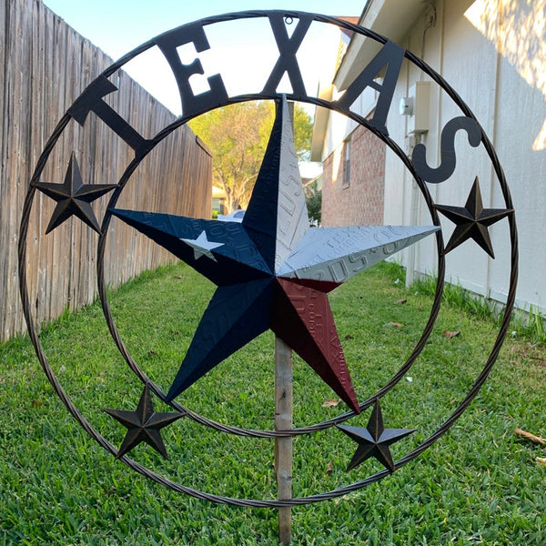 "24"", 32"", 34"", 40"" TEXAS LICENSE PLATE FLAG RED WHITE BLUE BARN STAR METAL WALL WESTERN HOME DECOR RUSTIC TEXAS ART NEW"