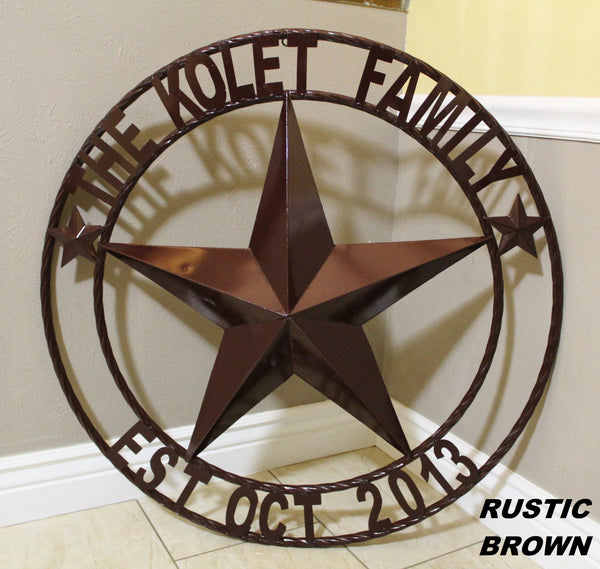 "CUSTOM STAR METAL NAME BARN STAR 3d WITH TWISTED ROPE RING DESIGN METAL WALL ART WESTERN HOME DECOR VINTAGE RUSTIC BROWN NEW HANDMADE, 24"", 32"", 36"", 40"", 44"", 46"", 50"""