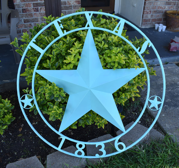 "24"", 32"", 36"", 40"", 44"", 50"" RUSTIC TURQUOISE TEXAS 1836 BARN STAR METAL ART WESTERN HOME DECOR NEW"