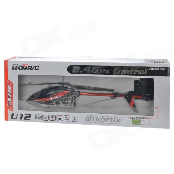 UdiRC U12 2.4Ghz RC HELICOPTER 3ch\metal\GYRO\Remote Controller w\LCD Screen BLACK