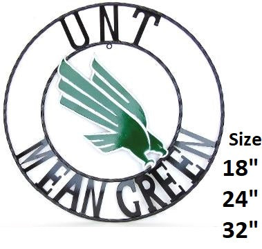 "12"", 18"", 24"", 32"" UNT MEAN GREEN METAL COLLEGE WESTERN HOME DECOR WALL ART, BRAND NEW"