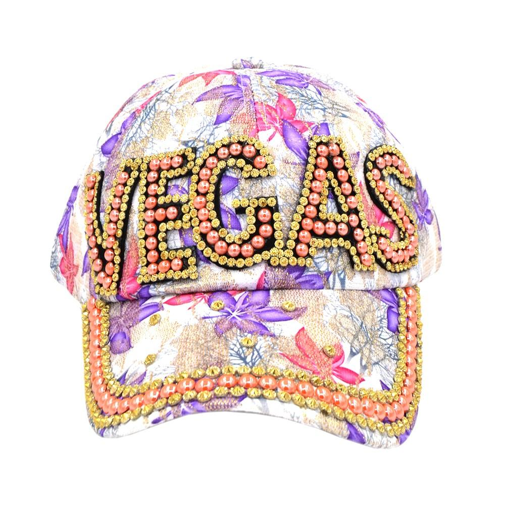 "BEADED BLING RHINESTONE COLORFUL WOMEN'S & GIRL CAP - ""VEGAS"" WESTERN SUMMER FASHION ART BRAND NEW"