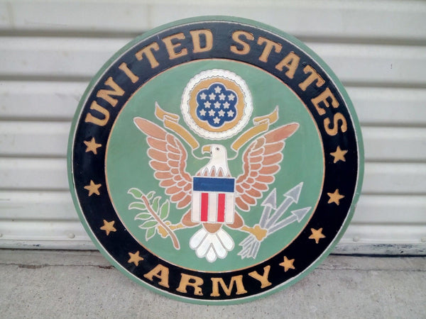 "21"" UNITED STATES ARMY MILITARY HAND CARVED WOOD PLAQUE ART CRAFT WESTERN HOME DECOR RUSTIC HANDMADE ART NEW"