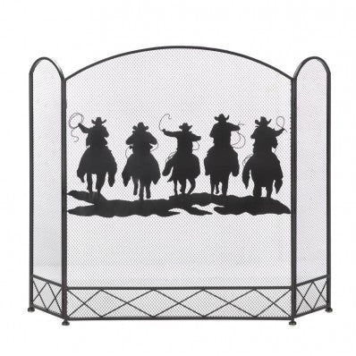 COWBOY ROUND-UP FIREPLACE SCREEN HOME DECOR WESTERN COUNTRY HOME DECOR BRAND NEW