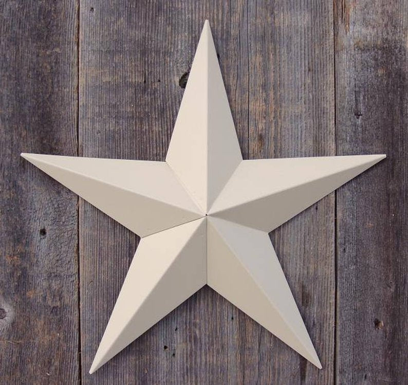 "12"", 17"", 24"", 30"", 36"" RUSTIC BEIGE BARN METAL STAR WALL ART WESTERN HOME DECOR VINTAGE RUSTIC ART NEW"