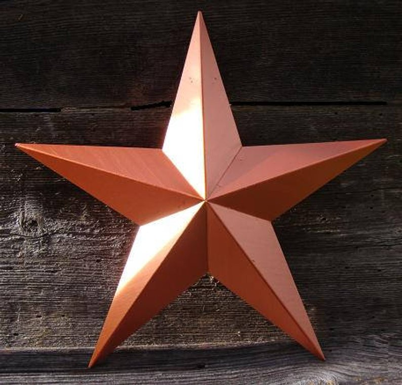 "12"", 17"", 24"", 30"", 36"" RUSTIC ORANGE COPPER BARN METAL STAR WALL ART WESTERN HOME DECOR VINTAGE RUSTIC ART NEW"