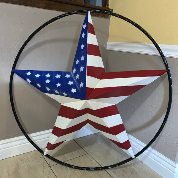 "AMERICAN Flag USA Metal Barn Star RED WHITE & BLUE with Black Rope Ring Western Home Decor Handmade 12"",16"",24"",30"",34"",36"",40"",48"""