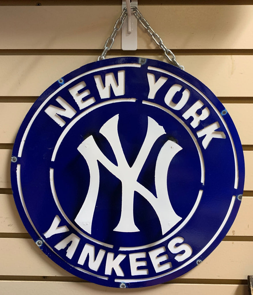 "15"" NEWYORK YANKEES TEAM METAL DISC WALL ART WESTERN HOME DECOR BRAND NEW"