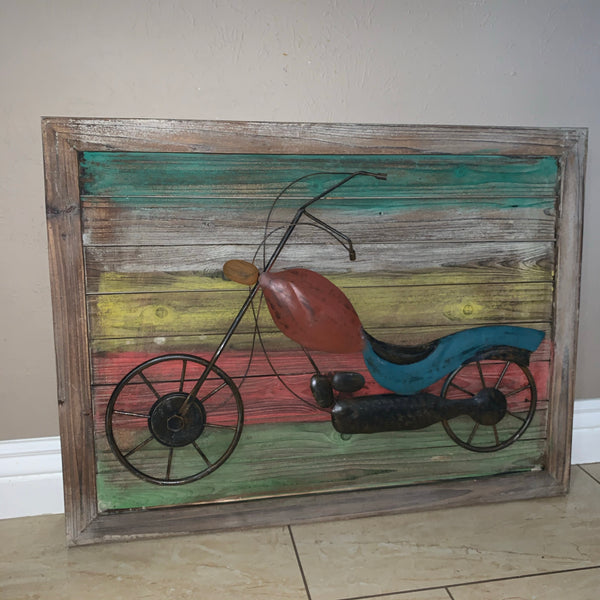"WOODEN FRAME METAL MOTORCYCLE HANDMADE WALL ART COLORFUL PICTURE PHOTO WESTERN COUNTRY HOME DECOR NEW 35""x26""x1.5"""