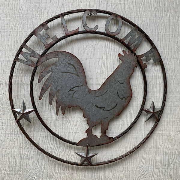 "24"" ROOSTER WELCOME GALVANIZED METAL WALL ART WESTERN HOME DECOR"