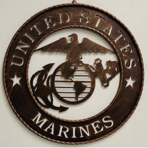 "18"" United States Marine Corps Military Metal Wall Art Decor Western  Home Decor Metal Wall Art Vintage Rustic Bronze New"