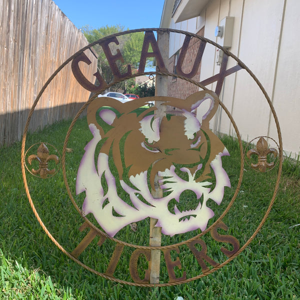 "12"",18"", 24"", 32"", 36"" GEAUX TIGERS CUSTOM METAL VINTAGE CRAFT SPORTS FOOTBALL TEAM ART"