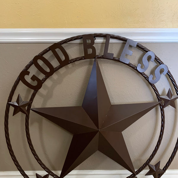 "18"", 24"",32"",42"" BROWN GOD BLESS TEXAS BARN METAL STAR TWISTED ROPE RING WESTERN HOME DECOR"