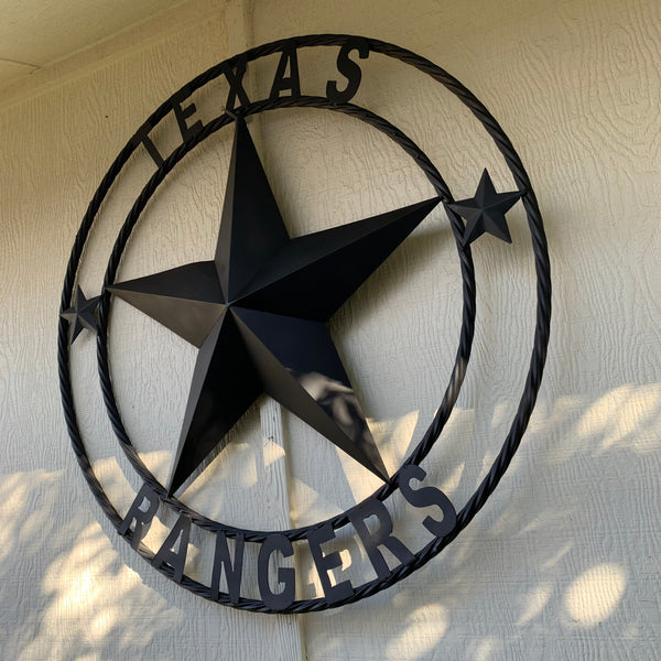 TEXAS RANGERS BLACK LONE STAR METAL TEAM WESTERN HOME DECOR CRAFT