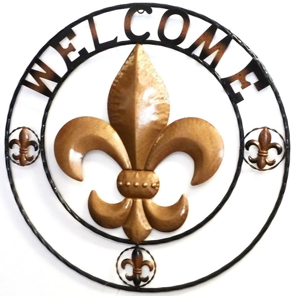 "24"", 32"" FLEUR DE LIS WELCOME METAL WALL ART WESTERN HOME DECOR VINTAGE RUSTIC BROWN ART NEW"