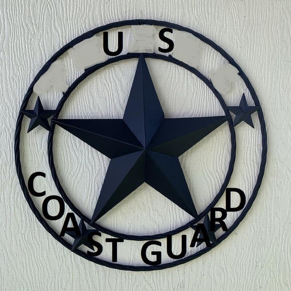 "US  COAST GUARD 3d BARN STAR CUSTOM NAME STAR VINTAGE METAL CRAFT ART WESTERN HOME DECOR RUSTIC BROWN SIZE:24"",32"",36"",40"",42"",44"",46"",50"""