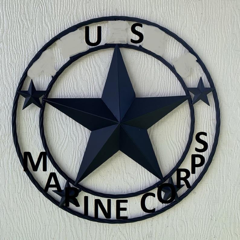 "US MARINE CORPS 3d BARN STAR CUSTOM NAME STAR VINTAGE METAL CRAFT ART WESTERN HOME DECOR RUSTIC BROWN SIZE:24"",32"",36"",40"",42"",44"",46"",50"""