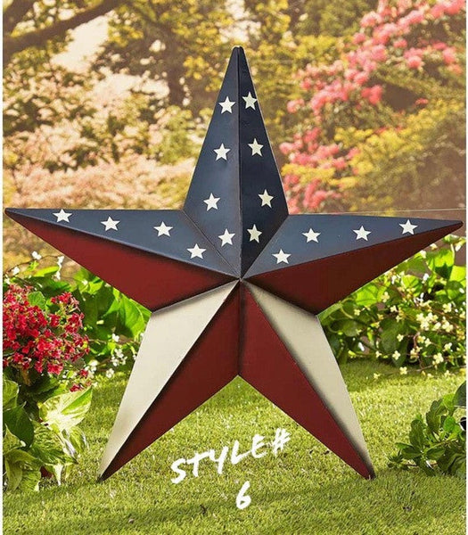 "24"" USA AMERICANA FLAG STAR RED WHITE & BLUE METAL BARN STAR METAL WALL ART HANDMADE"