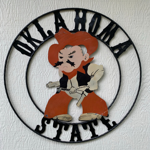 OSU OKLAHOMA STATE COWBOYS METAL CUSTOM VINTAGE TEAM WALL ART