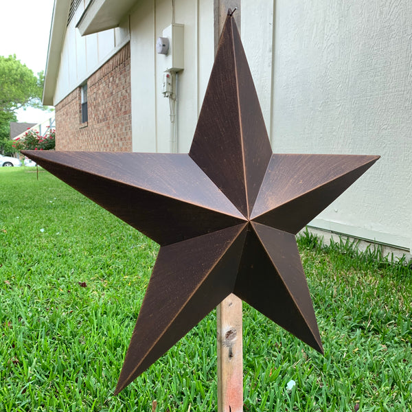 "12"", 17"", 22"", 24"", 30"", 36"" RUSTIC BRONZE BARN METAL STAR WALL ART WESTERN HOME DECOR VINTAGE RUSTIC BRONZE ART NEW"