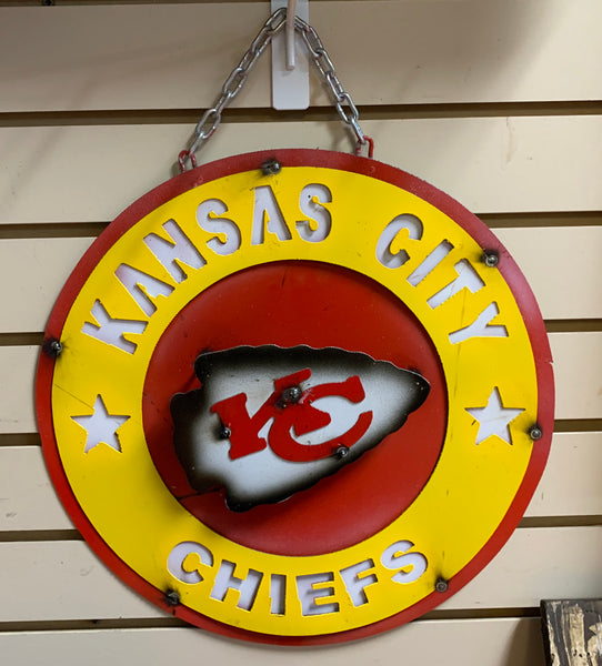 "15"" KANSAS CITY CHIEFS TEAM COLLEGE METAL WALL ART WESTERN HOME DECOR BRAND NEW"