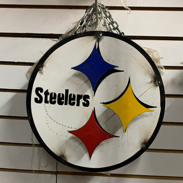 "12"" PITTSBURGH STEELERS DISC CUSTOM VINTAGE METAL TEAM DISC WALL ART WESTERN HOME DECOR CRAFT HANDMADE"