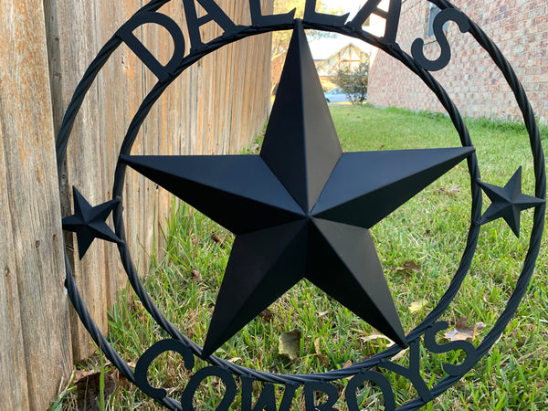 DALLAS COWBOYS RUSTIC BLACK LONE STAR METAL ART WESTERN HOME DECOR