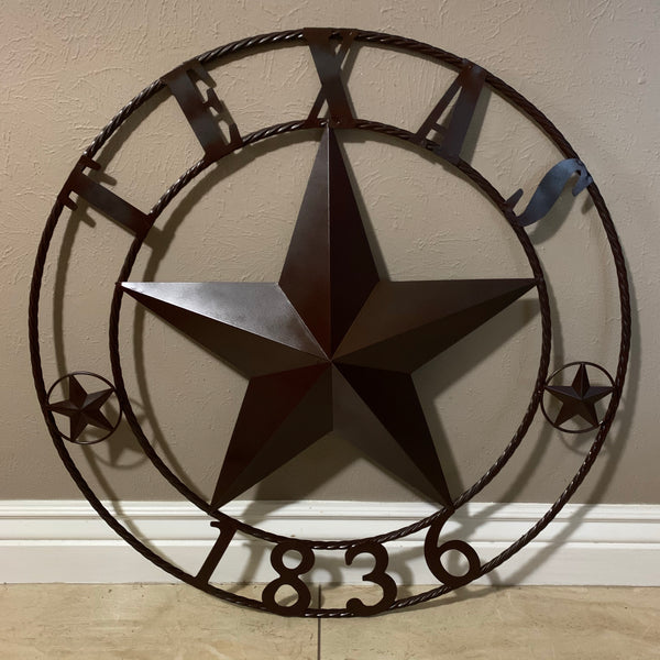 "16"",24"", 32"", 36"", 40"", 44"", 50"" RUSTIC BROWN TEXAS 1836 BARN STAR METAL ART WESTERN HOME DECOR VINTAGE RUSTIC DARK BROWN NEW"