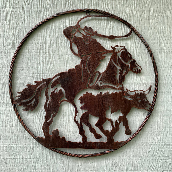 "22"" ROPING COWBOY LASER CUT  METAL WALL ART RUSTIC COPPER VINTAGE"