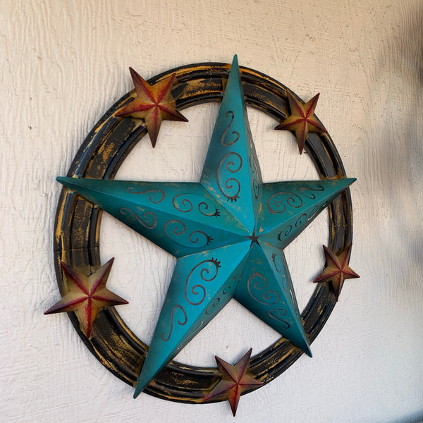 "24"" RUSTIC TURQUOISE CARVED CUT STAR METAL WALL ART WESTERN HOME"