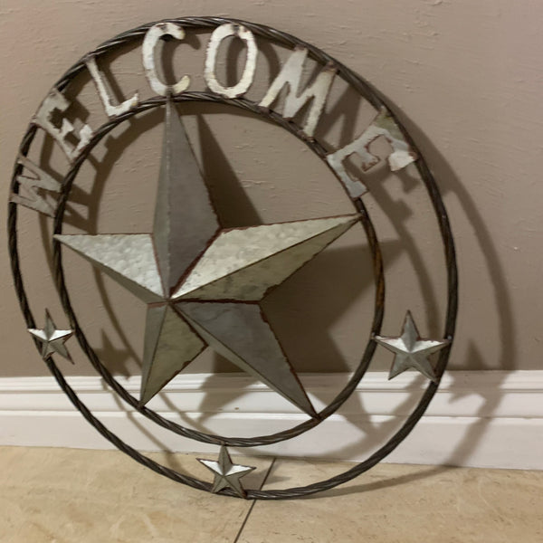 "24"" WELCOME GALVANIZED RAW METAL BARN STAR WALL ART WESTERN HOME DECOR"