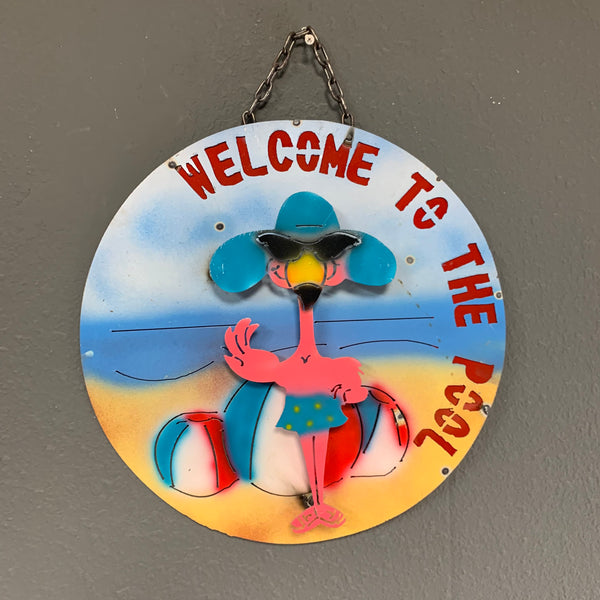 "15"" WELCOME TO THE POOL METAL SIGN WALL DISC ART WESTERN HOME DECOR BRAND NEW"