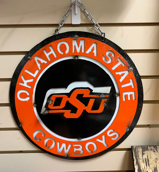"15"" OSU OKLAHOMA STATE COWBOYS TEAM COLLEGE METAL WALL ART WESTERN HOME DECOR BRAND NEW"
