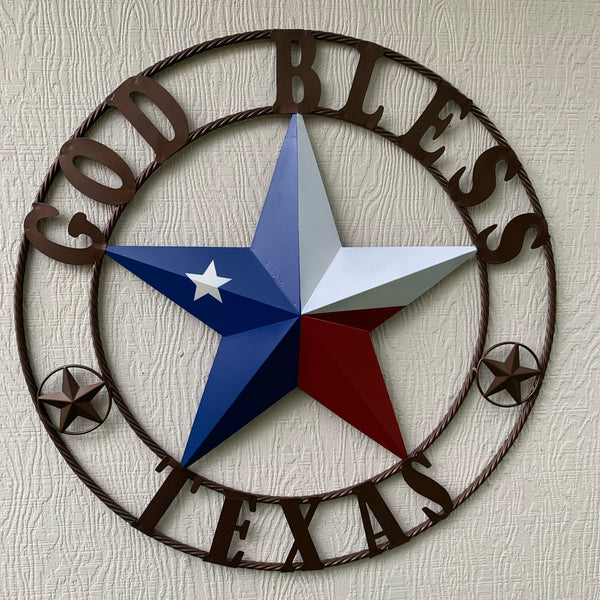 GOD BLESS TEXAS RED WHITE BLUE BARN METAL STAR TWISTED ROPE RING WALL ART WESTERN HOME DECOR HANDMADE