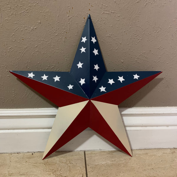 "12"",16"",24"",32"",36"" USA AMERICAN FLAG STAR RED WHITE & BLUE METAL BARN STAR METAL WALL ART HANDMADE"