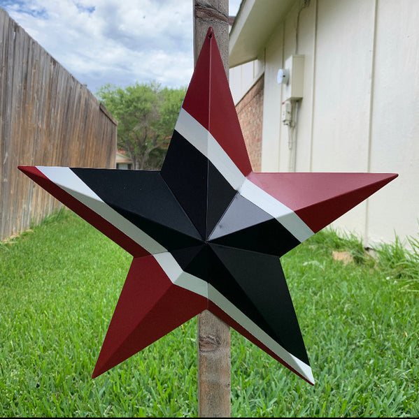 "12"",16"",24"",32"",36"" RED BLACK & WHITE METAL BARN STAR METAL WALL ART WESTERN HOME DECOR HANDMADE"