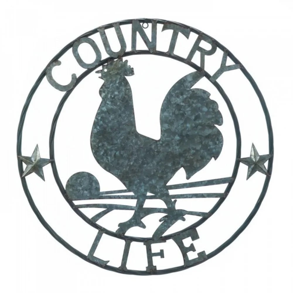 "24"" ROOSTER COUNTRY LIFE GALVANIZED METAL ART WESTERN METAL ANIMAL ART HOME WALL DECOR BRAND NEW"