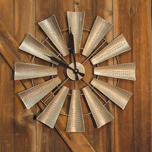 "22"" WINDMILL CLOCK FARMHOUSE WALL ART METAL WESTERN HOME DECOR NEW"