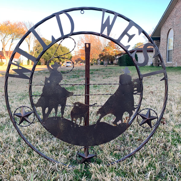 "WILD 22"" WILD WEST ROPING COWBOYS METAL WALL ART WESTERN HOME DECOR NEW"