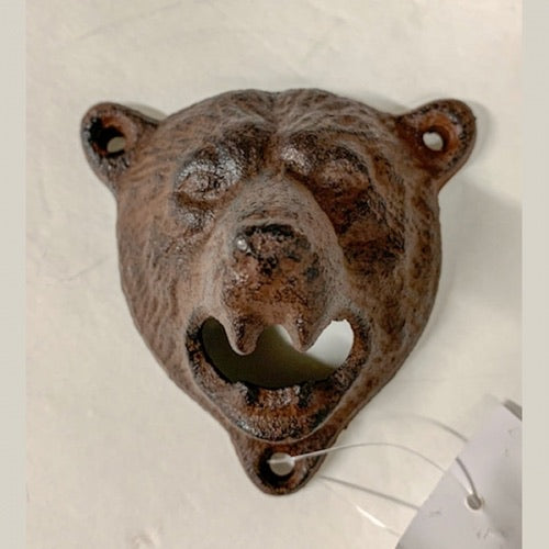 BEAR HEAD BOTTLE OPENER CAST IRON METAL WESTERN HOME DECOR CRAFT