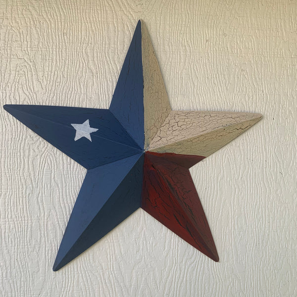 CRACKLE STYLE RED BEIGE & BLUE METAL BARN STAR METAL WALL ART WESTERN HOME DECOR RUSTIC NEW
